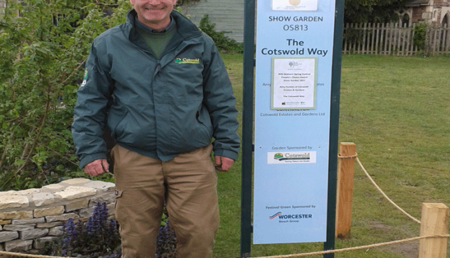 Show garden winning post, displaying certificate with a very proud Joe