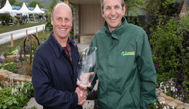 Accepting a trophy for the Malvern show garden