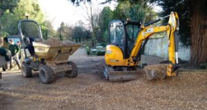 Digger and dumper working on site