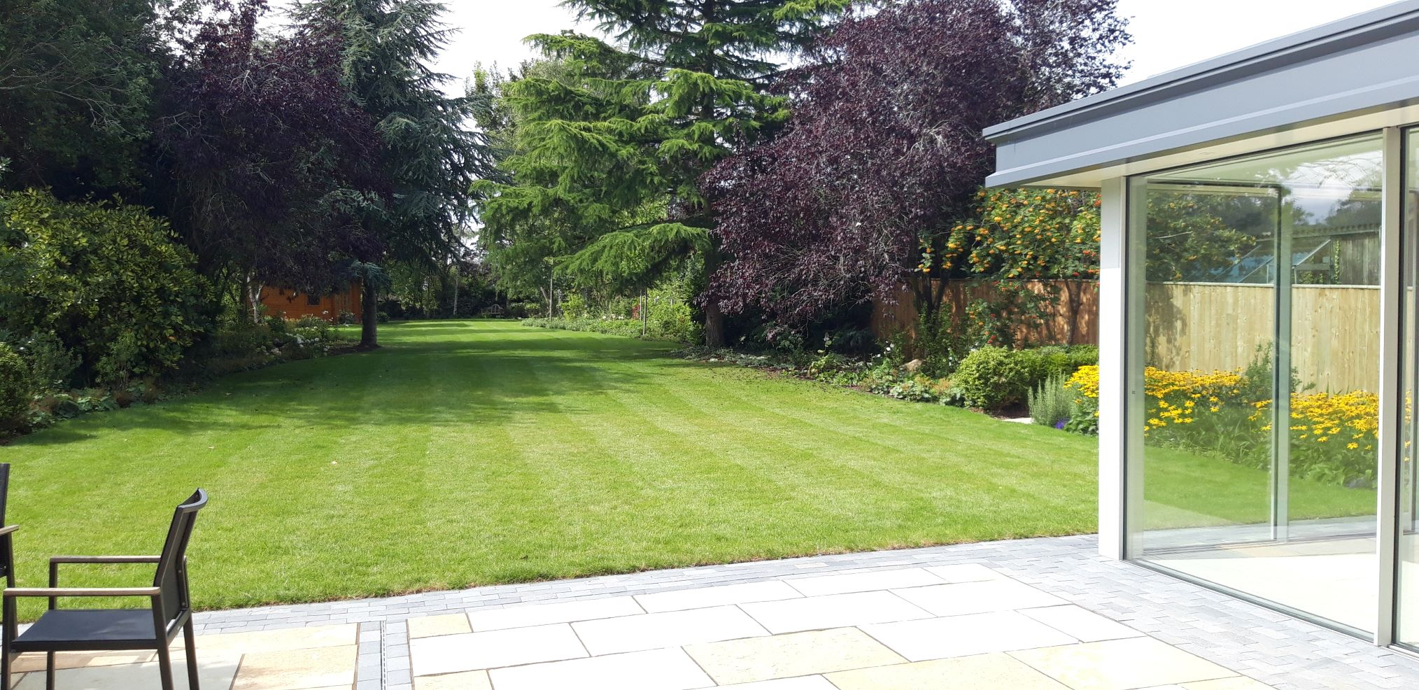 Finished domestic garden with new lawn