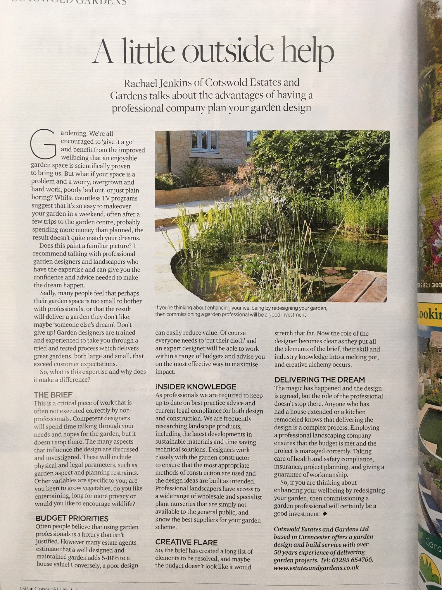 A little Outside help magazine article subject using a garden deisgner
